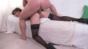 Cute Brunette Amanda gets finally banged in the ass. Balls deep anal fucking, great gapes, rough bj GL011
