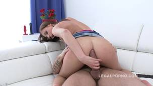 Cute newbie Antonia Saints filmed during her first anal for Legal Porno SZ836