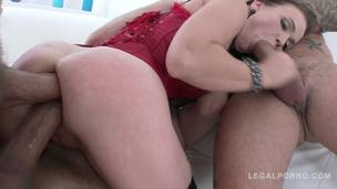 Joanna Black 3on1 double anal: slut DAP, DVP & creampie SZ1047