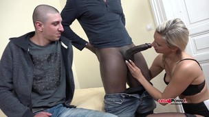 Bianca Ferrero enjoys black cock with her husband watching. Interracial cuckold sharing sperm IV001