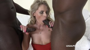 Claudia Mac learns quickly how to take two big black cocks IV057 screenshot