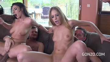 Rich anal sluts Nelly Kent & Rebecca Volpetti intense DP Fuck by 3 studs FS012 screenshot