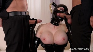 Cock Craving BDSM Pornstar Latex Lucy Fucked By Two Dominators' Dicks GP092 screenshot