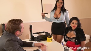 Busty Twins Kesha Ortega & Sheila Ortega Fuck the Daylights out of their Dirty Boss GP162 screenshot