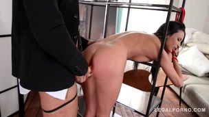 Glamour pornstar Anissa Kate fucked with double strap-on in BDSM XXX porn GP190 screenshot