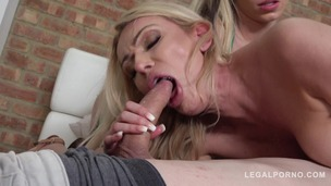 Busty Amber Jayne & Barbie Sinns share dude's cock when girlfriend returns GP563 screenshot
