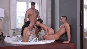 Ass fucking foursome in the bathroom with babe Ninel Mojado & hot Anita Bellini GP920 screenshot
