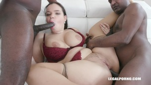 Busty Sofia Lee has black feeling & takes two cocks in the ass IV446 screenshot