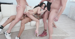 DAP Destination Juicy Leila 4on1 Balls Deep Anal, First DAP, Gapes and Swallow GIO1390 screenshot