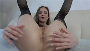 Mary Wet toys and tastes her ass with a glass dildo OTS102 screenshot