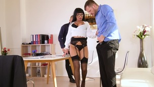 Milf boss Valentina Ricci orders double penetration threesome in the office GP1392 screenshot