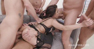 7on1 Double Anal Gangbang with Bianka Blue, Balls Deep Anal, DAP, Gapes and Swallow GIO1734 screenshot