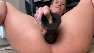Solo fucking ass with black dildo CM086 screenshot